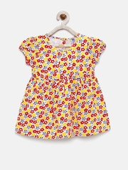 YK Girls White & Yellow Floral Print Fit & Flare Dress