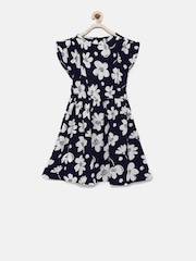 YK Girls Navy Blue Printed Fit and Flare Dress