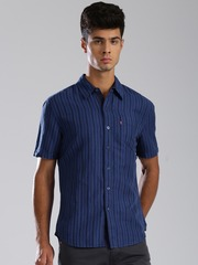Levis Blue Striped Slim Fit Casual Shirt