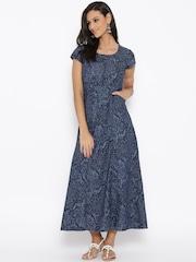 BIBA Blue Printed Denim Maxi Dress