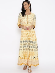 BIBA Beige & Mustard Yellow Printed Maxi Dress
