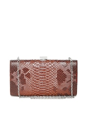 Lisa Haydon for Lino Perros Brown Snakeskin Box Clutch with Chain Strap