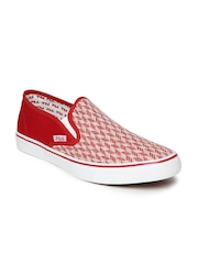 FILA Men Red & White Mario Woven Slip-Ons