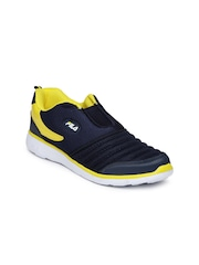 FILA Men Navy & Yellow Smash VI Slip-Ons