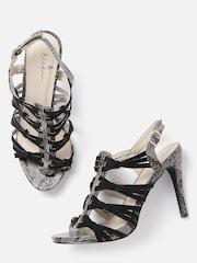 Mast & Harbour Women Black Strappy Snakeskin Print Stilettos