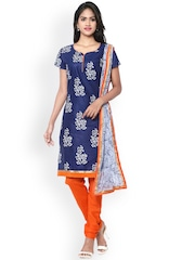Saree mall Navy & Orange Printed Cotton Unstitched Dress Material