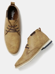 Roadster Men Tan Solid Mid-Top Derbys