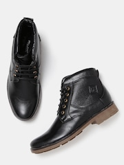 Roadster Men Black Solid Mid-Top Chukka Boots