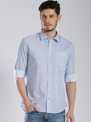 Tommy Hilfiger Blue Cobble Print Custom Casual Shirt