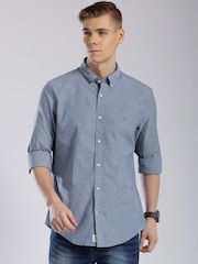 Tommy Hilfiger Blue Custom Fit Casual Shirt