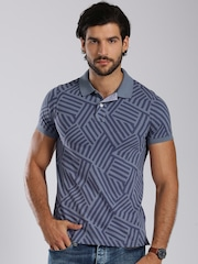 Tommy Hilfiger Blue Printed Slim Fit Polo T-shirt