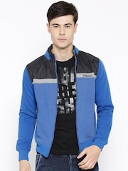 Fort Collins Blue Dot Print Panelled Sweatshirt