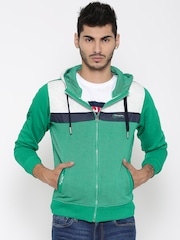 Fort Collins Green Colourblocked Striped Hooded Sweatshirt