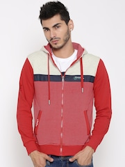 Fort Collins Red Colourblocked Striped Hooded Sweatshirt