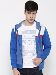Fort Collins Blue & Off-White Striped Hooded Sweatshirt