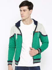 Fort Collins Green & Off-White Colorblocked Hooded Sweatshirt