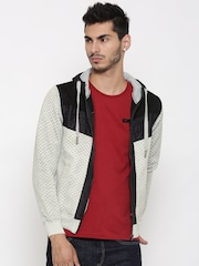 Fort Collins Grey Melange Quilted Hooded Sweatshirt