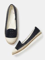 Mast & Harbour Women Navy Cut-Out Flat Shoes