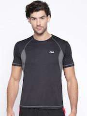 FILA Men Black Solid Polyester Round Neck T-Shirt