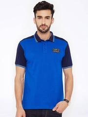 FILA Men Blue Colourblocked Polo T-Shirt