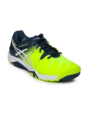 ASICS Men Fluorescent Green & Blue Gel-Resolution 6 Tennis Shoes
