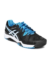 ASICS Men Black Gel-Resolution 6 Tennis Shoes
