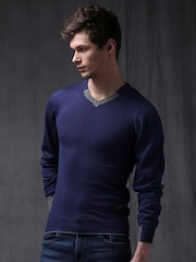 WROGN Men Blue Solid Slim Fit Sweater