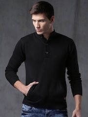 WROGN Men Black Self-Design Slim Sweater