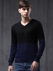 WROGN Men Black Slim Fit Sweater