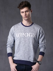WROGN Men Blue Slim Fit Sweatshirt