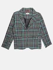 U.S. Polo Assn. Kids Boys Green Checked Single-Breasted Blazer