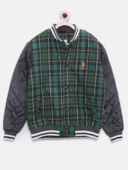 U.S. Polo Assn. Kids Boys Green & Charcoal Checked Quilted Jacket
