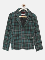 U.S. Polo Assn. Kids Boys Green & Black Checked Blazer
