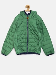 U.S. Polo Assn. Kids Boys Green Hooded Quilted Jacket