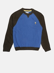 U.S. Polo Assn. Kids Boys Blue & Charcoal Colourblocked Sweater