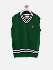 U.S. Polo Assn. Kids Boys Green Sleeveless Sweater