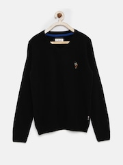 U.S. Polo Assn. Kids Boys Black Woollen Sweater
