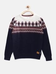 U.S. Polo Assn. Kids Boys Off-White & Navy Sweater