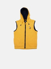 U.S. Polo Assn. Kids Boys Yellow Hooded Sleeveless Faux Fleece Sweatshirt