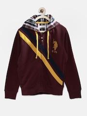 U.S. Polo Assn. Kids Boys Burgundy Hooded Sweatshirt
