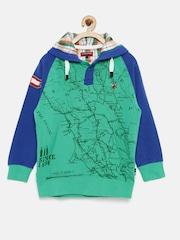 U.S. Polo Assn. Kids Boys Green Printed Hooded Sweatshirt