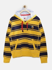U.S. Polo Assn. Kids Boys Yellow & Navy Striped Hooded Sweatshirt