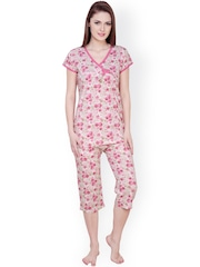 Claura White & Pink Printed Night Suit cot-06