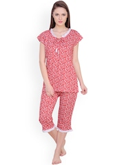 Claura Red Floral Print Night Suit cot-07