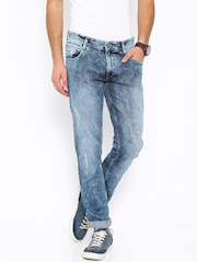 John Players Blue Slim Fit Low-Rise Jeans