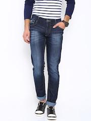 John Players Dark Blue Skinny Fit Low-Rise Jeans