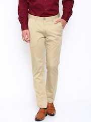 John Players Men Beige Slim Fit Flat-Front Trousers