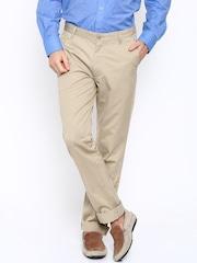 John Players Men Beige Solid Regular Fit Flat-Front Trousers