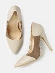 DressBerry Women Beige & Brown Pointy-Toed Stilettos