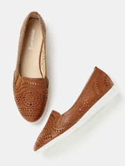 DressBerry Women Brown Cut-Out Slip-Ons